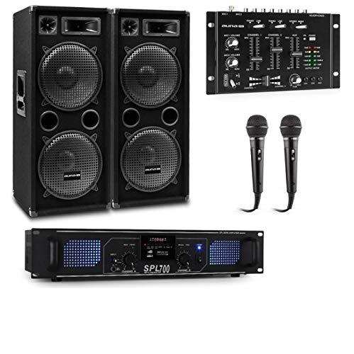 Auna Pro PW- MKII Lote de PA para Karaoke, Amplificador + 2 Altavoces pasivos de PA + Mezclador de DJ + 2 micrófonos, Amplificador de 2 Salidas de 250 W, 4 subwoofer de 12' / 1000 W/de 3 vías, Negro