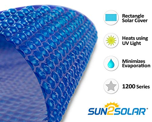 Sun2Solar Blue 12-Foot-by-24-Foot Rectangle Solar Cover | 1200 Series Style | Heating Blanket for In-Ground and Above-Ground Rectangular Swimming Pools | Use Sun to Heat Pool | Face Bubble-Side Down