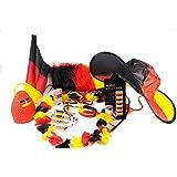 Kit para aficionados de futbol, selección alemana, Campeonato de Europa 2021, maquillaje, banderas, gafas, silbato, sombrero, bandera para coche, tatuajes, Caxirola, Set XXL