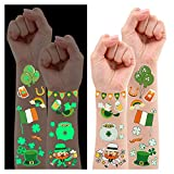 200 PCS Luminous St Patrick's Day Temporary Tattoos for Kids Party Favors, Glow Saint Patricks Day Accessories Decorations for Boys and Girls, Cute Irish Shamrock Stickers (10 Sheets)