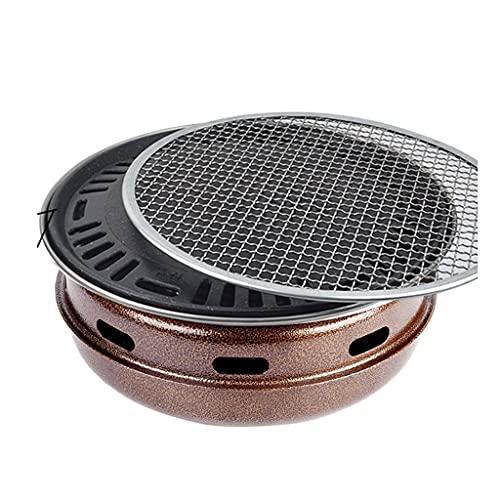 OWZSAN Barbecue Rotondo da Viaggio Portatile in Acciaio Inox BBQ. Griglia a Carbone con Due in Una Maglia alla Griglia di Rubrica per Campeggio Picnic All'aperto