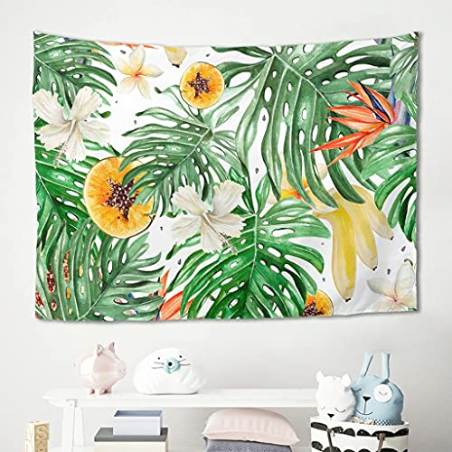 Monstera - Tapiz de pared con planta tropical hawaiana y frutas y flores para colgar en la pared, para picnic, playa, yoga, meditación, para el salón, dormitorio, color blanco, 100 x 150 cm