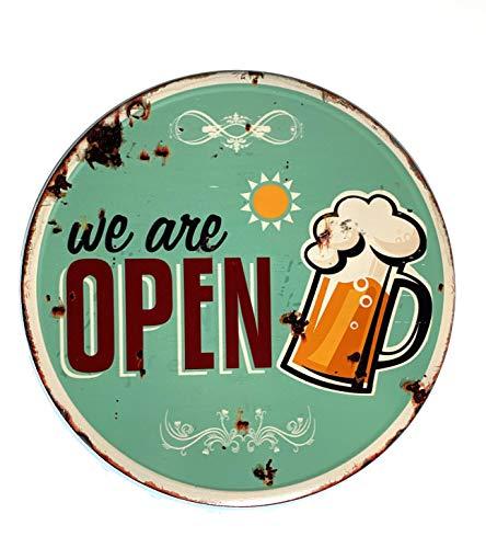Moritz Blechschild Kronkorken We Are Open Bier 33 cm Durchmesser cm Deko Schild mit Aufdruck Aufschrift