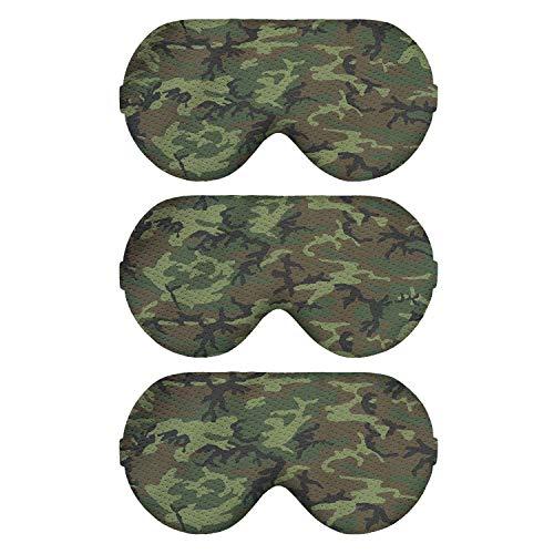 Pack 3 Camo Camouflage Pattern Sleep Eye Masks for Men Women Floral Flower Sleeping Mask (ERDL Camo)
