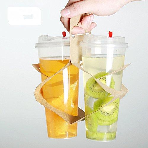 Wegwerp Cup Houder Afhalen Verpakt Koffie Thee Kraft Paper Cup Draagbare bekerhouder 50 stks