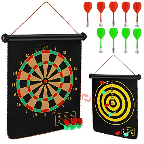 Oberhoffe Magnetic Dart Board,Rollup Double Sided Board Game Set,Dart Game for Kids, Dart Boards for Adults(with 9 Magnetic Darts Safety) Best Toys Gifts,Easily Hangs Anywhere - Indoor Outdoor Games