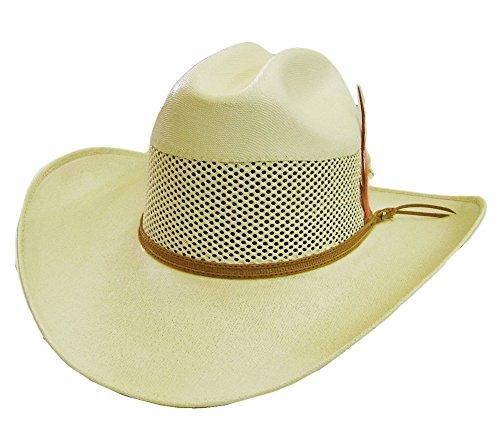 Modestone Unisex Feather Bangora Straw Chapeaux Cowboy 55 Off-White