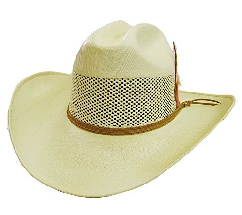 Modestone Unisex Feather Bangora Straw Chapeaux Cowboy 55 Off-White