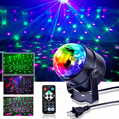 Party Lights Disco Lights Sound Activated Party Lights with Remote Control Dj Lighting RBG Disco Ball, Strobe Lamp 7 Modes Stage Light for Family Parties KTV bar Christmas Halloween DJ Wedding