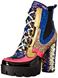 Cape Robbin Nell Gold Glitter Platform Chelsea Ankle Boots with Chunky Block Heels for Women Featuring a Sequined Tongue and Heel - Mermaid Size 9