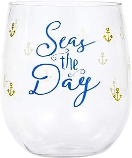 Wine Tumbler Plastic Wine Glasses Plastic Stemless Wine Glasses Beach Party Nautical Decor Anchor 14 Oz