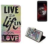 K-S-Trade® Schutzhülle Für Sharp Aquos B10 Schutz Hülle 360° Wallet Case ''live Life Love'' Schutzhülle Handy Tasche Handyhülle Etui Smartphone Flip Cover Standfunktion (1x)