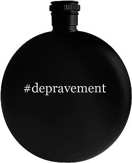 #depravement - 5oz Hashtag Round Alcohol Drinking Flask, Black