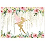 Funnytree 7x5FT Floral Fairy Birthday Party Backdrop for Photography Pink and Gold Fairy Tale Tea Flowers Wonderland Princess Girl Baby Shower Background Decoration Banner Supplies Photo Booth