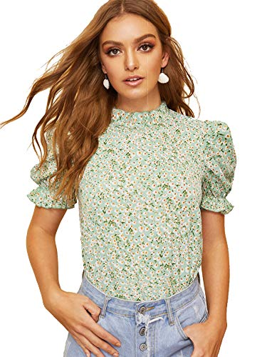 Romwe Women's Floral Print Short Ruffle Sleeve Mock Neck Summer Blouse Tops Green Small