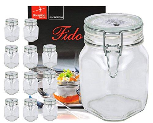 Bormioli 12er Set Einmachglas Bügelverschluss Original Fido 1,0L incl Rezeptheft