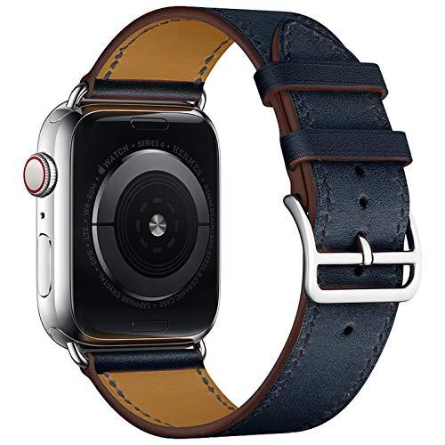 Lucakely Cinturino di ricambio per Apple Watch 44 mm 42 mm, nero in pelle, per iWatch Series 6 5 4 3 2 1, per uomini e donne (38 mm/40 mm, blu)