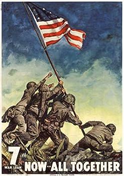 UpCrafts Studio Design IWO JIMA Poster 11.7 x 16.5 - Now All Together - WW2 USMC Flag Raising US American Propaganda Replica - Military Memorabilia Decor
