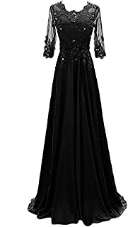 Women's 1/2 Sleeve Lace Beaded Formal Evening Dress with...