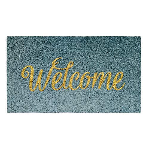 Banzaii Felpudo de Coco 40 x 70 cm Fijado a una Base de PVC Antideslizante con Efecto Glitter – Welcome Gris