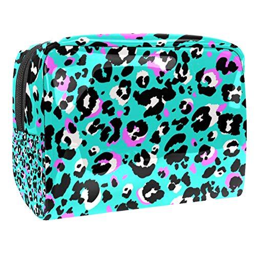 Bolsa de maquillaje portátil con cremallera, bolsa de aseo de viaje para mujeres, práctica bolsa de almacenamiento cosmético con estampado de animales