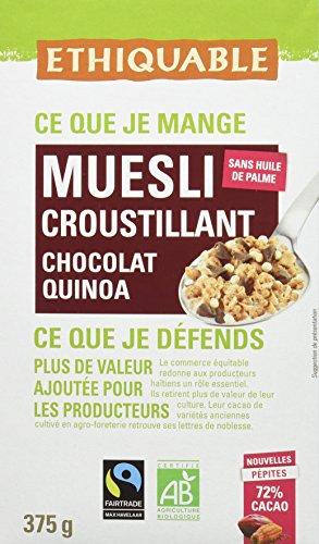 Ethiquable Muesli Croustillant Chocolat Noir Quinoa Bio et Équitable en 375 g Max Havelaar