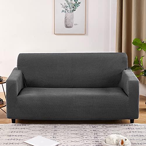 ZZHEXIN Copridivano elasticizzato in poliestere jacquard, per diversi tipi di divani con braccioli, antiscivolo, diverse misure e colori disponibili, grigio scuro