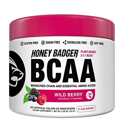 Honey Badger Vegan Keto BCAA – EAA Electrolyte Powder | Lemon Lime | Natural Gluten Free Amino...