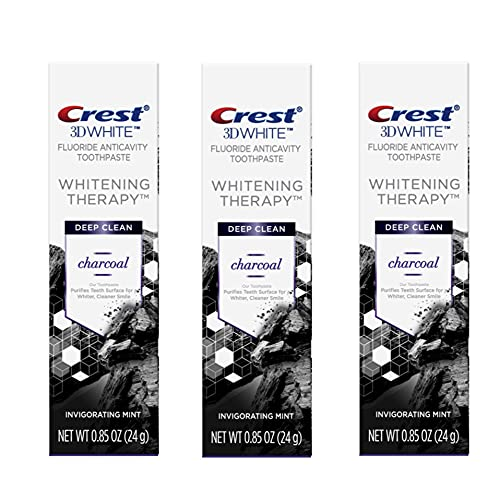 Crest Charcoal 3D White Toothpaste, Whitening Therapy Deep Clean with Fluoride, Travel Size 0.85 Ounce, Pack of 3