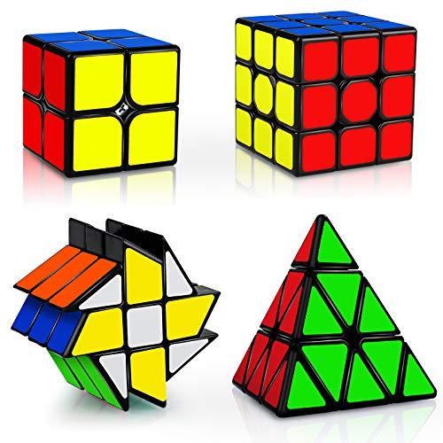 JQGO Rubix Cube Set, 4 Pack Speed Magic Cube Set 2x2 3x3 Pyraminx Fenghuolun Cube, Easy Turning 3D Puzzle Cube Spiele Spielzeug Geschenk für Kinder Erwachsene