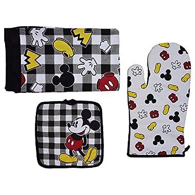Disney Oven Mitt Pot Holder & Dish Towel 3 pc Kitchen Set (Mickey Black & White)