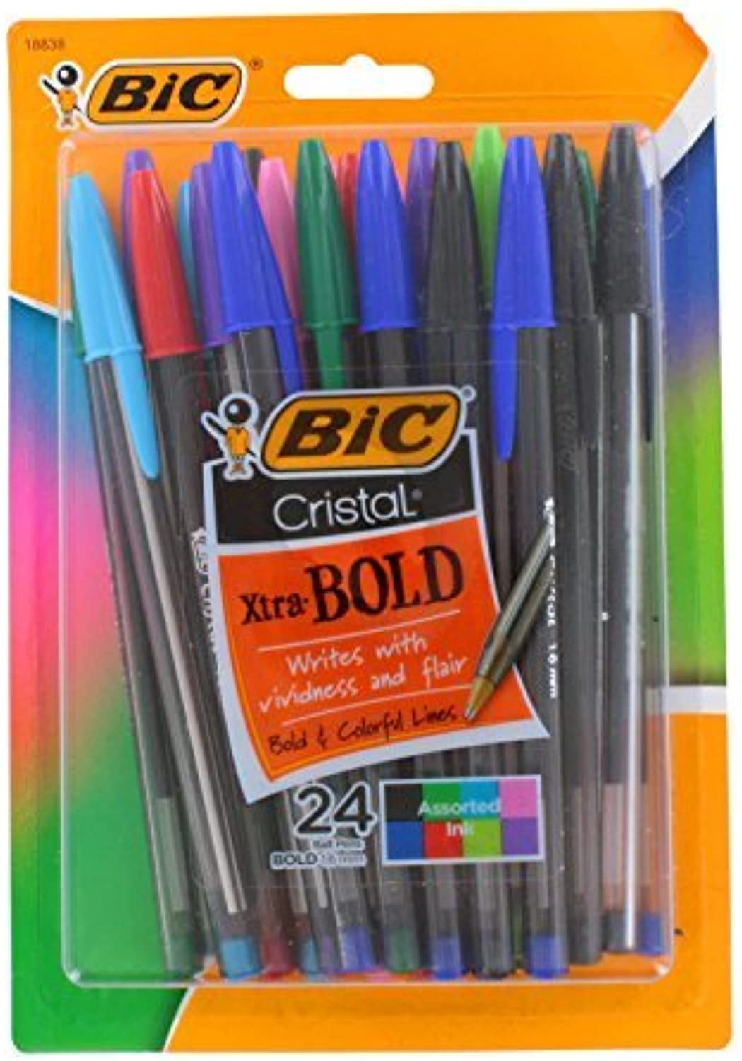 Bic Cristal Xtra Bold Stick Ballpoint Ballpoint Ballpoint Pens, 1.6mm, Bold Point, Assorted Farbes, Pack of 24 by BIC B0141MZW32 | Lebhaft