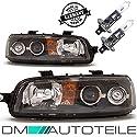 DM Autoteile Punto 188 Scheinwerfer Set Klarglas Schwarz H1/H1 ohne Nebel +Birnen 99-03