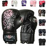 BeSmart Kids Boxing Gloves Junior Mitts 4oz, 6oz Punch Bag Children MMA Youth P (Black, 6 Oz)