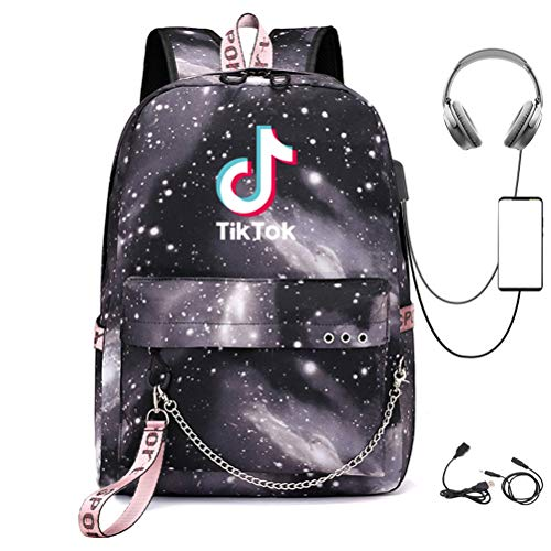 TIK -Tok Douyin,Travel Business Anti Theft Slim Durable Laptops Backpack with Audio Cable USB Charging Port, Water Resistant College School Bag,Gifts(Starry Sky Black)