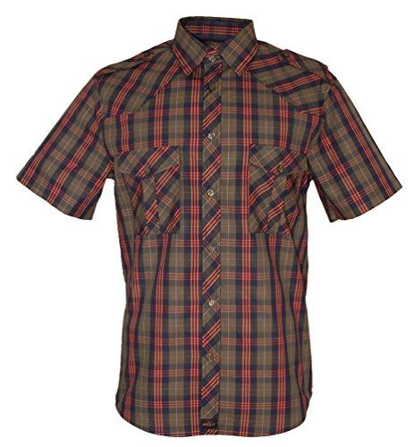 ROCK-IT Apparel® Kariertes Herren Hemd Kurzarm Worker Hemd Worker Shirt Freizeithemd Arbeitshemd Made in Europa Größen S-5XL Farbe Olive X-Large