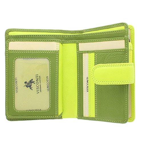 Visconti Rainbow-Kollektion Geldbörse / Geldbeutel, Damen, Leder mit RFID-Schutz RB51 Grün Multi