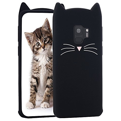 Galaxy S9 Case, Miniko(TM) Fashion Cute Kawaii Funny 3D Black Meow Party Cat Kitty Whiskers Dropproof Protective Soft Rubber Case Skin for Samsung Galaxy S9 2018