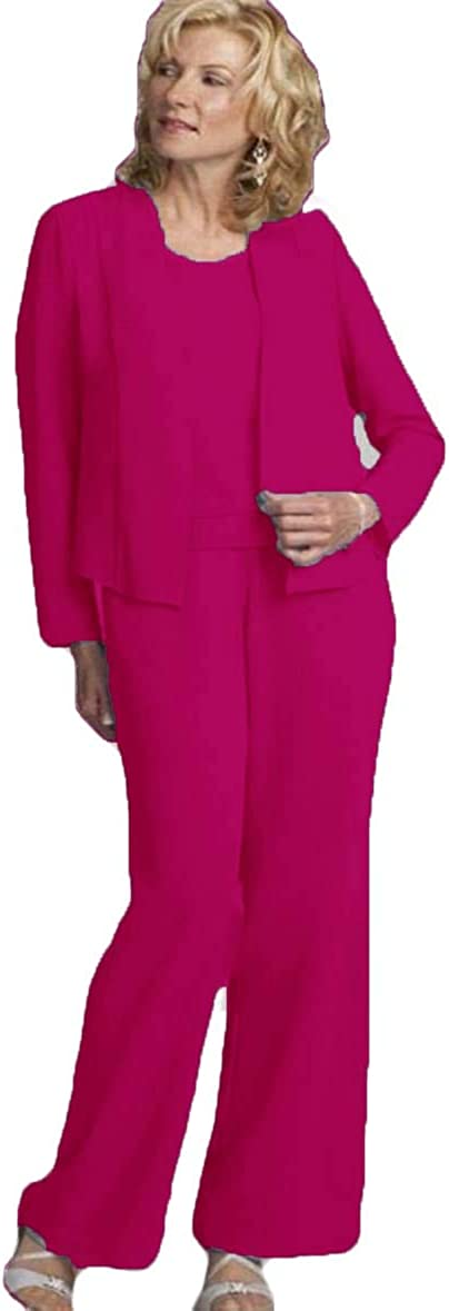 Xixi House 3 Pieces Chiffon Mother of The Bride Pant Suits 2021 Plus Size Mother of Bride Wedding Party Outfit Sets