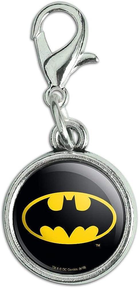 GRAPHICS & MORE Batman Classic Bat Shield Logo Antiqued Bracelet Pendant Zipper Pull Charm with Lobster Clasp