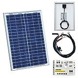 Photonic Universe Kit panneau solaire avec commende de charge 5 A et câble de batterie pour camping-car, caravane, bateau ou tout...