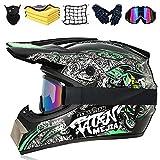 Casco Da Motocross Professionale, Casco Integrale Per Bambini, Con Occhiali,guanti,maschere Per Il Viso,asciugamano,rete Per Moto,Quad Bike ATV Go-kart Stampato Moto Da Cross Casco (B,S (55-56CM))