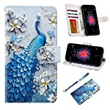 UrSpeedtekLive iPhone 5/5s/SE Case, iPhone 5/5s/SE Wallet Case, Premium PU Leather Wristlet Flip Case Cover with Card Slots & Stand for iPhone 5/5s/SE, Peacock