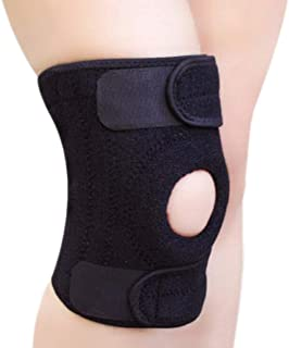 BeeChamp Adjustable Neoprene Knee Support Kneecap Compression Sleeve Open Patella Brace (Black)