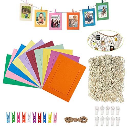ZEEREE Decoración de red de pesca,con 10 cajas de papel de colores de 6 pulgadas,adecuada para la decoración de paredes de fiestas familiares y dormitorios,puede colgar fotos。