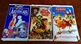 Bundle of 3 VHS Video Tapes: 1- Disney's The Aristocats, 2- Disney & Henson's Muppet Treasure Island, 3- Dreamworks' Chicken Run