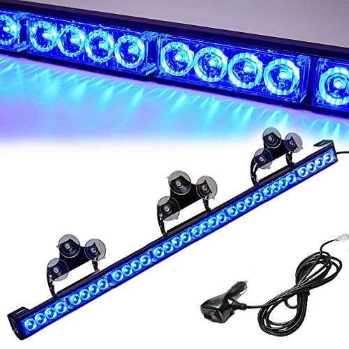 Blue Emergency Strobe Light Bar 36 Inch 13 Flash Patterns Traffic Advisor Warning Hazard Windshield Light Bar Safety Lights with Cigar Lighter for Police Vehicles, Cops Truck (35.5 Inch, Blue 32 Led)