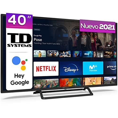 TD Systems K40DLX14GLE Hey Google Model 2021 - Televisores Smart TV 40 Pulgadas Full HD con Google Chromecast built-in, Control por voz y HBBTV, 1100 PCI Hz, 3X HDMI, 2X USB. DVB-T2/C/S2. Televisiones