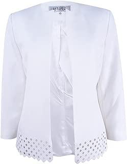 Kasper Womens Petite Size Honeycomb Jacquard Zip Jacket W//Black Contrast