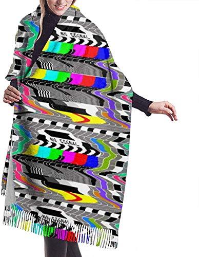 JJsister Damen Pashmina Wrap Schals,Winterschal Schals Tv Television Test Cards Patterns Rainbow Cozy Soft Fashion Winter Warm Large Schals Long Shawl